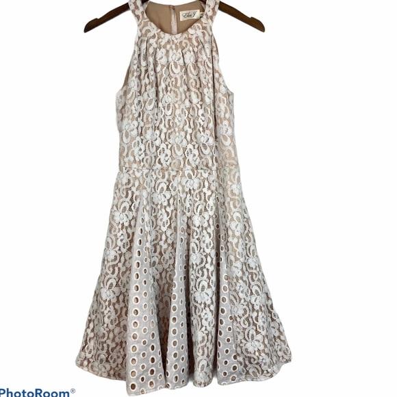 Eliza J White Floral Lace Fit Flare Dress Bridal 4